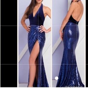 Terani Couture Navy Blue Halter Evening Gown